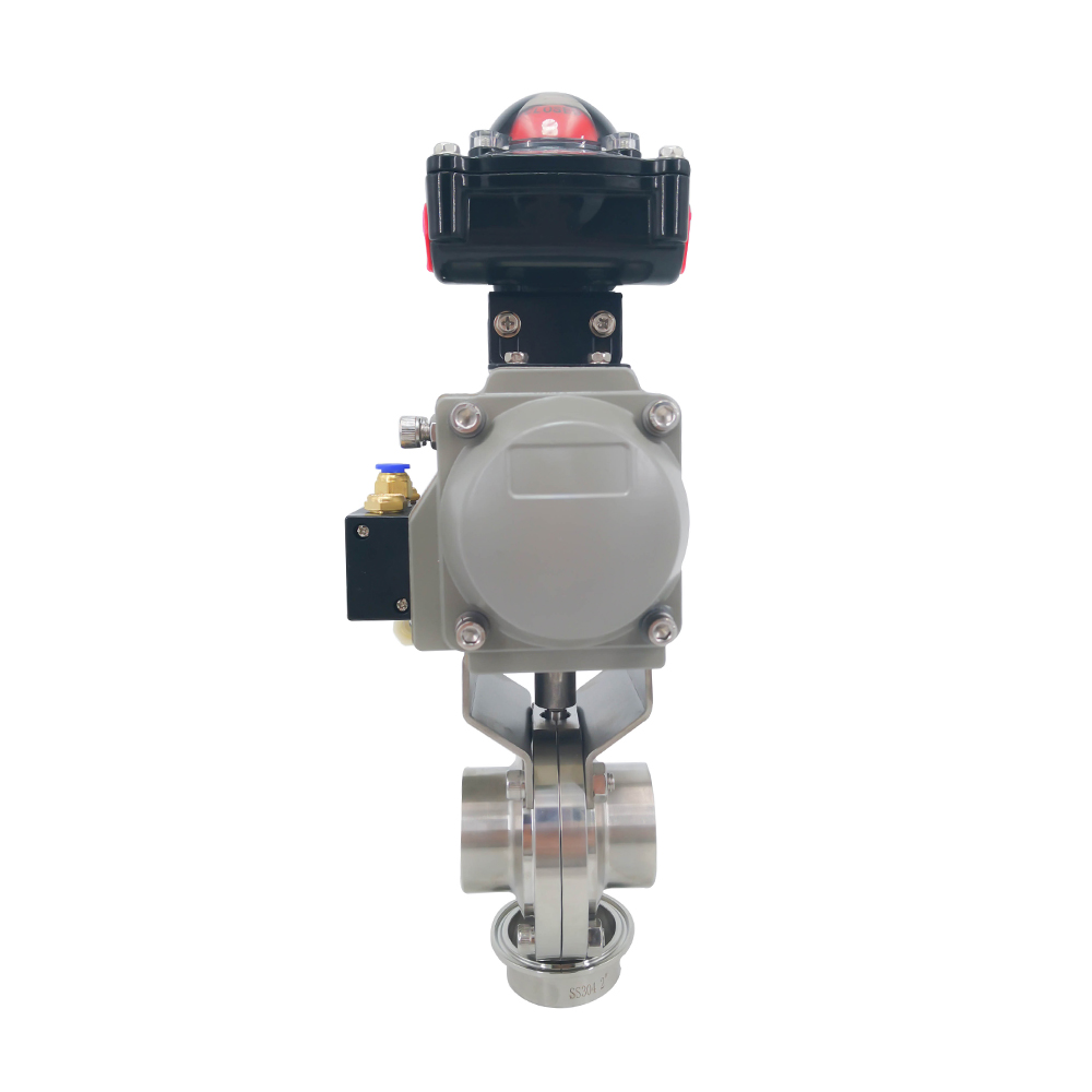 Sanitary Actuated Weld Butterfly Valves with Limit Switch