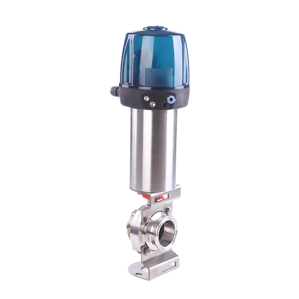 Sanitary Pneumatic TC Butterfly Valve with Control Head