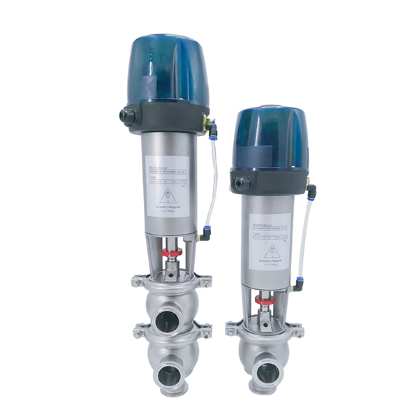 Sanitary LL 3-way Pneumatic Diverter Valves with Control