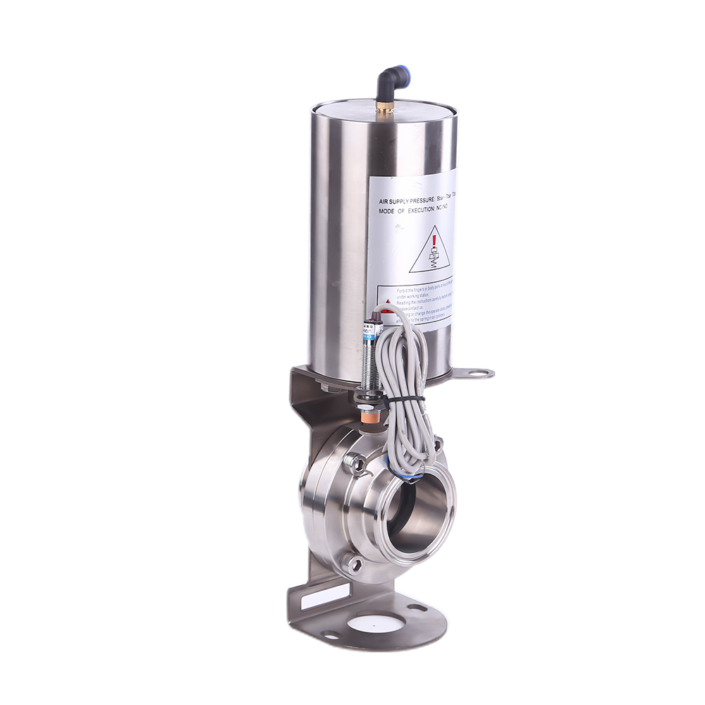 Stainless Steel Sanitary Pneumatic Air Operated clamp Butterfly Valve with Switch
