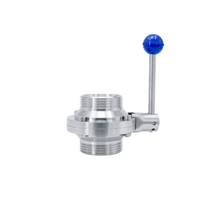 Stainless Steel SS304 SS316L Sanitary Butterfly Type Male Threaded Ball Valve