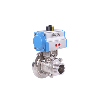 Stainless Steel Hygienic Sanitary Pneumatic Tank Bottom Clamp 3Pieces Ball Valves