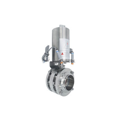 Sanitary Stainless Steel Three - Piece Butterfly Valve with Pneumatic Head Proximity Switch